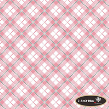 Popular Pink&white plaid pattern hydrographic film water transfer printing film  0.5mx10m decoration materials.HFJ051