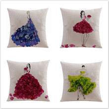Free shipping/fashion hand-painted flower girl 43 * 43 cotton and linen hold pillow case illustration cushion for leaning on No