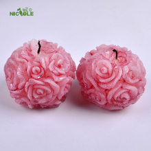 Diy Silicone Candle Mold 2 Holes Rose Ball Shaped Craft Handmade Soap Mould(China)