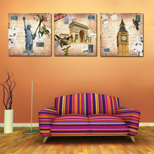 Europe Retro World New York London Paris Canvas Oil Painting by Numbers Wall Art Picture Home Decor(China)