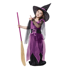 MOONIGHT Halloween Costumes Girl Purple Witch Costume Dress with Hat Party Cosplay Clothing for Kids Girl Children(China)