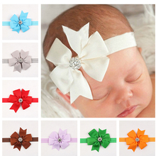 1PC Retail Ribbon Bows With Foldover Bowkonts Headband Hair Bow Rhinestone Elastic Hair Bands Accessories W023(China)