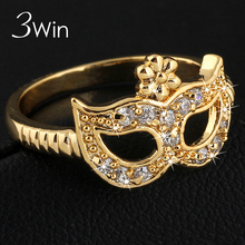 WinWinWin Mysterious Mask Rings for Women in Party Shiny Zircon Italy Mask Gold Color Women's Ring in Club and Bar anel feminino