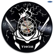 Thor Avengers Vinyl Record Clock Wall Art Home Decor duvar saati