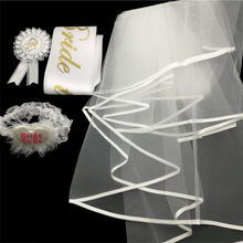 Chicinlife 4Pcs/Set Bride To Be bridal sash Badge/Veil/Garter/Sash Hen Night Gifts Bachelorette Party sash Wedding Decoration