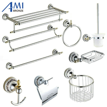 Chrome Polished Porcelain Bathroom accessories Bath Hardware Set Towel Shelf  Towel Bar Paper Holder Cloth Hook  BS03