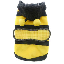 Bee Striped Pet Small Dog Cat Fleece Bumble Warm Wing Hoodie Costume Coat Apparel Jacket