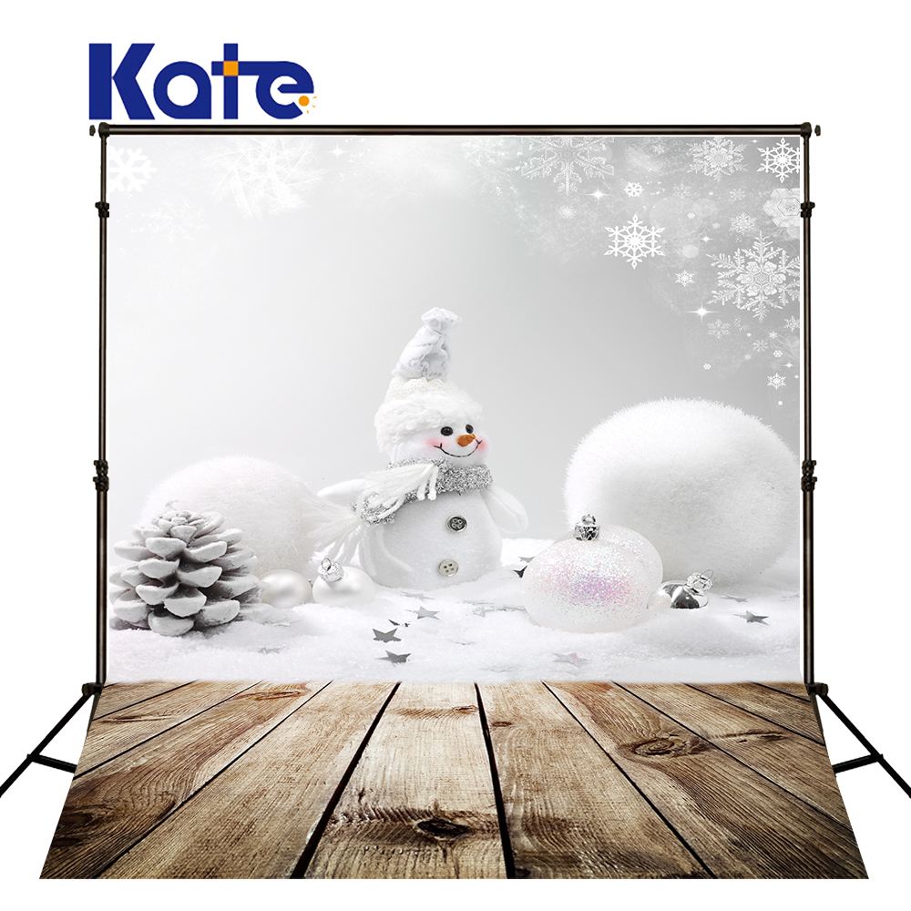 Kate White Snowman Christmas Photography Backdrops Happy New Year Wood Photo Background Children Custom Backdrops For Parties<br>
