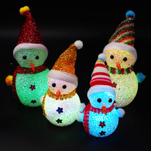 Christmas Decoration LED Snowman Night Light Santa Claus Pendants Childs Xmas Gift Table Christmas Tree Decor For Home