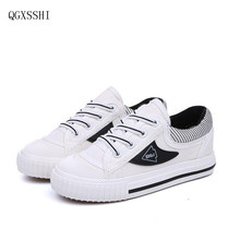 QGXSSHI Brand children canvas shoes 2017 latest boys and girls fashion small white shoes children casual breathable Sneakers