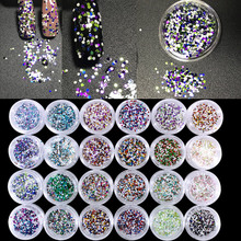 24 pots Multi Colors Mixed Glitter Sequins Paillette Powder Dust UV Gel Polish Nail Tips Nail Art Manicure Make Up Eye Shadow