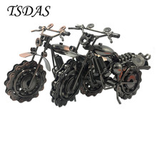1pc 20cm Super Cool Metal Motorcycle Model Black & Bronze Handcraft Iron Model For Office Desk Decor Boyfriend Father's Gift