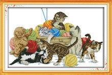 Кошки играют, подсчитывали напечатаны на ткани DMC 14CT 11CT Вышивка Крестом наборы, вышивка рукоделие Наборы Home Decor(China)