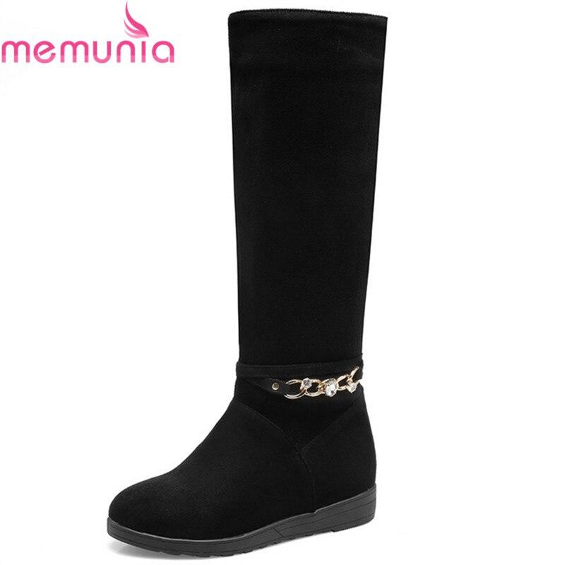 MEMUNIA hot sale autumn winter new arrive women boots black flock chain height increasing boots elegant ladies knee high boots<br>