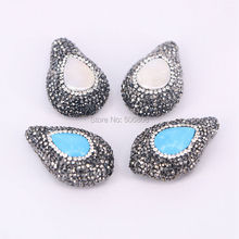 10PCS Nature pearl / blue stone drop druzy beads, pave crystal rhinestone waterdrop gems stone spacer connectors findings