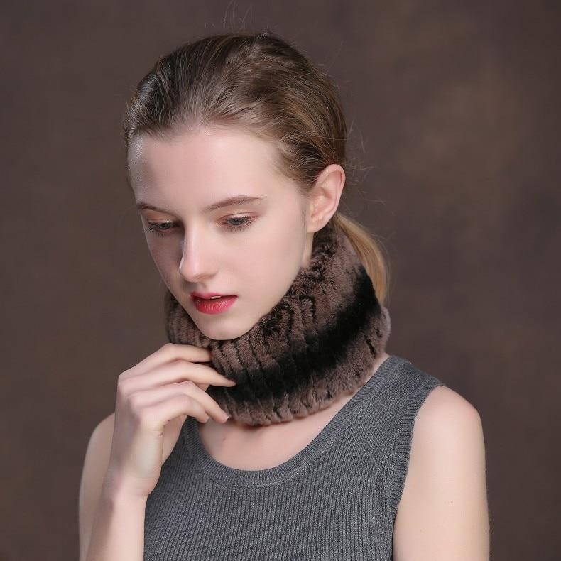 Winter Fur Headbands For Women Knitted Rex Rabbit Fur Scarf Hats Natural Fur Ring hairband Neckwarmer female (10)