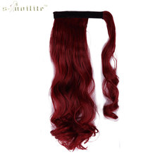 SNOILITE 24inch Synthetic Curly Long Ponytail Clip In Pony Tail Hair Extensions Wrap on Hairpieces Hairstyles Dark Red(China)