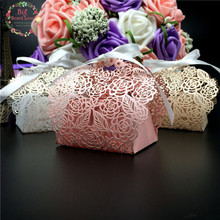 Big Heard Love 50pcs/lots Lace Flower Wedding Favor Box Laser Cut Candy Box Gift Box Wedding Decoration Event Party Supplies