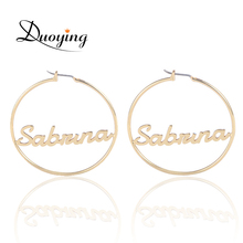 Duoying Circle Name Earrings 45 mm Hoop Earrings for Etsy Celebrity Style Round Personalized Custom Name Earring for Women Gifts