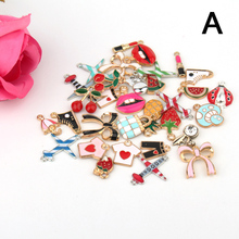 1pc Cute Enamel Metal Lip Watermelon Pine Fruit Charms Pendant Findings Handmade Necklace Bracelet Diy Beads Jewelry Accessories