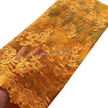 2017 Fashion african lace embroidery lace fabric orange black african swiss voile lace high quality for nigerian wedding dress