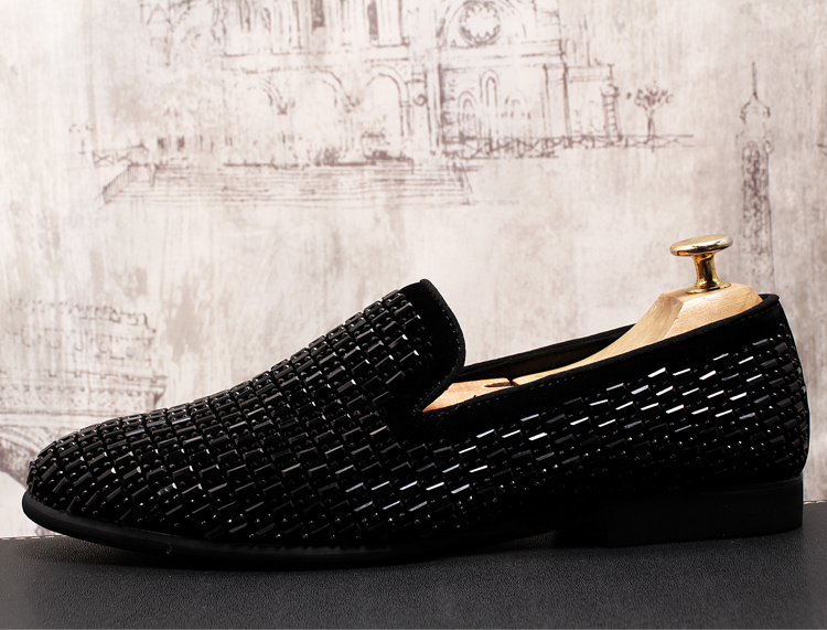 2019 New Gradient Striped Rhinestones Loafers shoes SmokingSlippers Dress Wedding Party Flats Casual Moccasins shoe 54 Online shopping Bangladesh