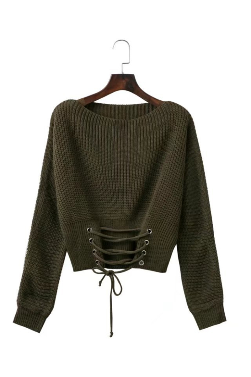 Autumn Lace Up Sweater, Women's Knitted Solid Jumper, Adjust Waist Bandage Sweater 16