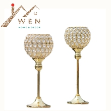 New metal gold plated candle holder with crystals wedding candelabra/centerpiece decoration candlestick 1 set =2 pcs(China)