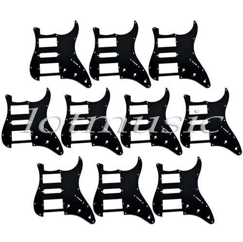 10 pcs black guitar pickguard 3 ply 11 holes for fender strat style replacement<br>