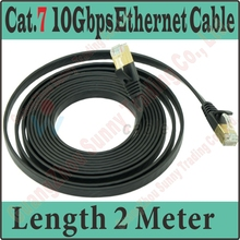Best Quality New 6FT 2M CAT.7 CAT 7 Flat UTP 10Gbps Ethernet Network Cable RJ45 Patch LAN Cord wholesale, CAT7 Cable,