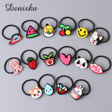1PCS/Lot Wholesale Good Quality Cartoon Cute Animals Fruits Flowers Elastic Hair Bands For Girls Hair Oranement Accessories(China)