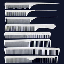8pcs Salon Styling Cut Style Hair Comb White Carbon Antistatic Cutting Comb Easy Sectioning Heat Resistant Hair Brush Set
