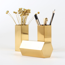 Original Design Brass Pen Pencil Holder Pot Container Desk Stationary Accessories Office Supplies(China)