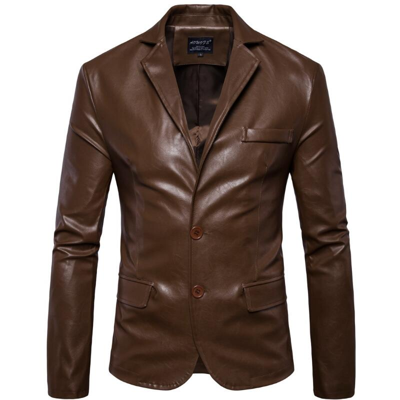 Leather Jacket Men M-XL Men's Fashion Classic Winter Leather Jacket Men Casual Black Blazer With A Leather Jacket