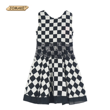 New Fashion Docile Girls Dresses 2016 Summer New Children's Clothng Kids Black And White Large Plaid Lace Chiffon Girl Dress