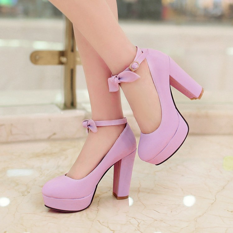 Fashion Korean Style Women Shorts High Quality Leather Womens Pumps Cute Bowtie Lolita Shoes At Heel Ankle Strap Pumps AL025<br><br>Aliexpress
