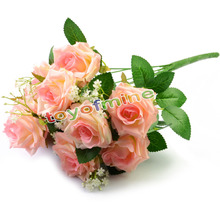 Hot Charming 11 Heads 1 Bouquet Milan Rose Artificial Silk Flower Decoration Bridal Party Table Dec Wedding Party Decor(China)