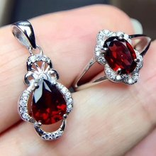 Fidelity Natural garnet s925 sterling silver fashion fine jewelry sets for women wedding natural red gemstone pendants earrings(China)