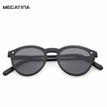 Megatina Vintage Round Sunglasses Women Fashion Transparence Frame Pink Color Sun Glasses For Men UV400 Mirror Eyewear KS7156(China)