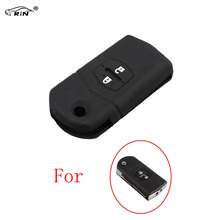 RIN Silicone Case Car Remote Key Cover for Mazda 2 3 5 6 M5 CX7 CX9 RX 2 Buttons Flip Key Auto Accessories With logo