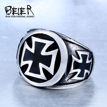 One Piece Sale Titanium Man 316L Stainless Steel Unique Fashion Male's Cross Ring For Boy BR8-073(China)