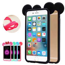 3D Ears Fashion Silicone Protect Shell Bumper For iPhone 4 4s Cute Lovely Cartoon Phone Case Cover For iPhone 5G 5S SE 6 6S Plus