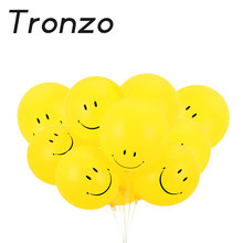 Tronzo 10pcs Smile Expression Balloons 12inch Latex Smiley Face Inflatable Balloon Wedding Party Decoration Yellow Black