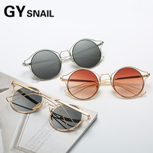 GYSnail 2017 Fashion Women Sunglasses Classic Brand Designer Cat Eye Hollow Metal Frame Coating Mirror Sun Glasses lively UV400(China)