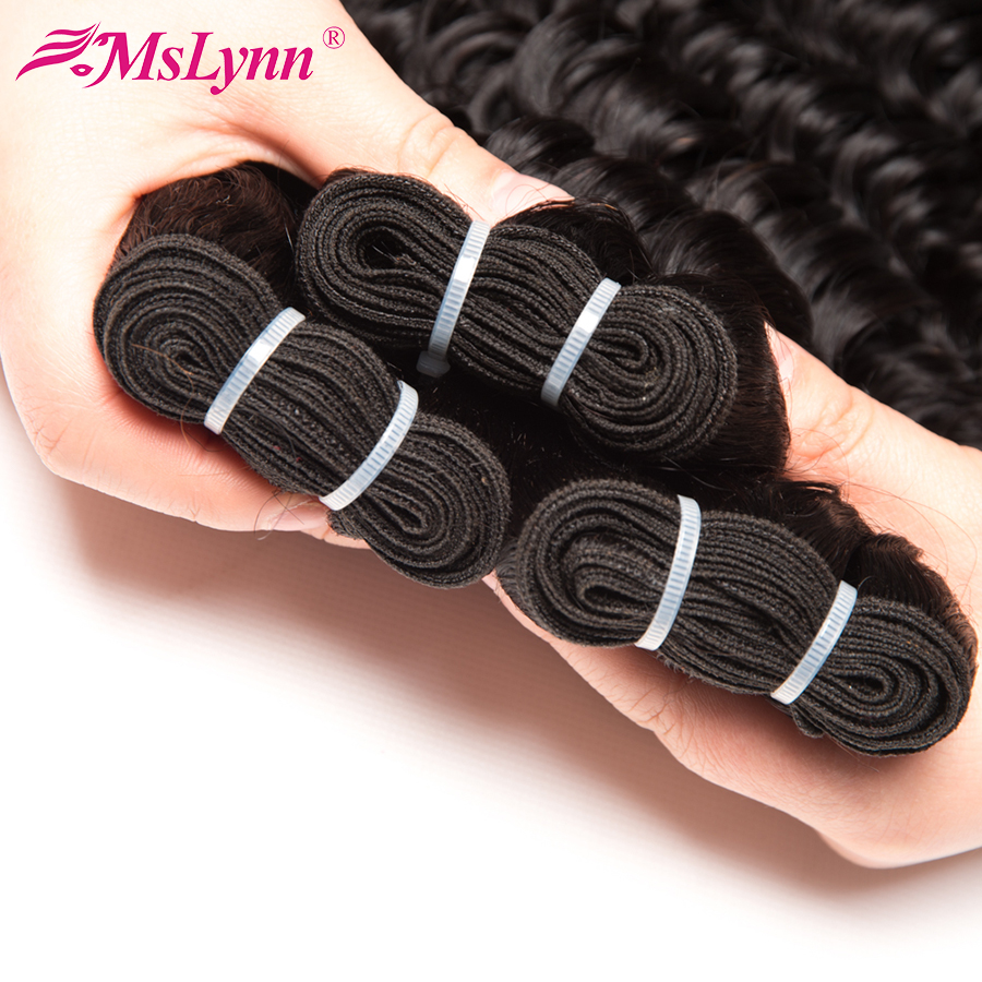 Mslynn Deep Wave Brazilian Hair Weave Bundles 1 Piece Non-Remy Hair Human Hair Bundles 10″-28″ Natural Color Free Shipping