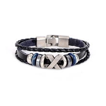 Hesiod Handmade Braid Leather Bracelet for Men Women Bracelet Wrap Charm Skeleton Cross Bracelets Bangles Men Jewelry