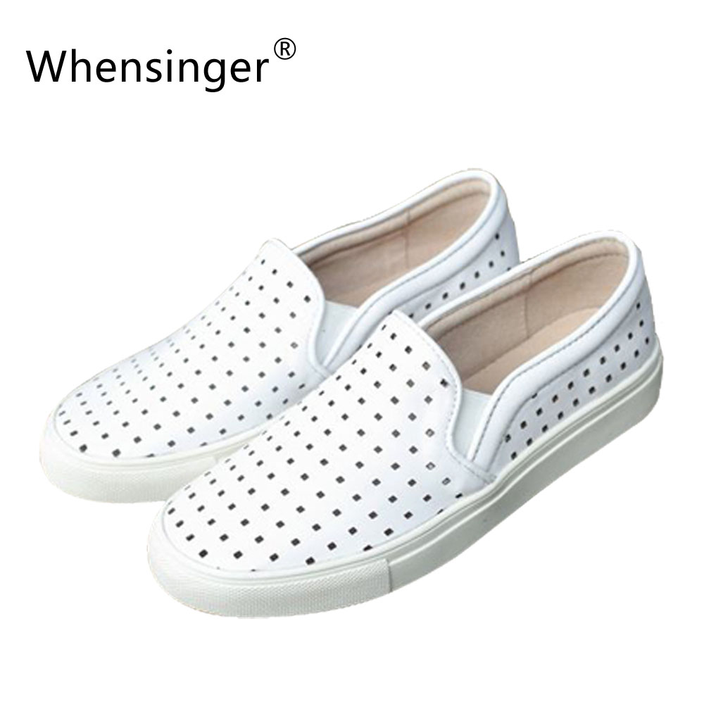 Whensinger - 2016 Women Shoes Handmade Retro Brush-line Carrefour Laser  Leather Female Solid Round 8028-3<br>
