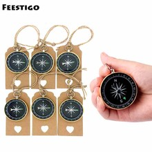 Feestigo 100sets/Lot Party Favors for Kids Birthday Compass Gift Wedding For Guests Compass+Heart Message Tags Event Party Favor