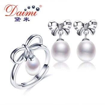 Daimi joyería del bowknot establece 7-9mm perlas de agua dulce conjunto anillo pendientes de regalos de joyería fina para las mujeres