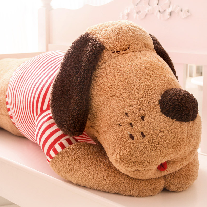 Pernycess 1pcs 120cm cute Papa Dog plush toy doll large striped stud dog bed pillow three colors:Beige Black and white Brown<br>